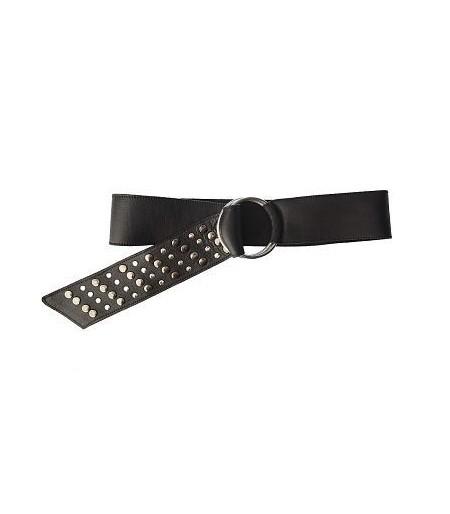 Cinturón Piel Negro Hebilla Circular
