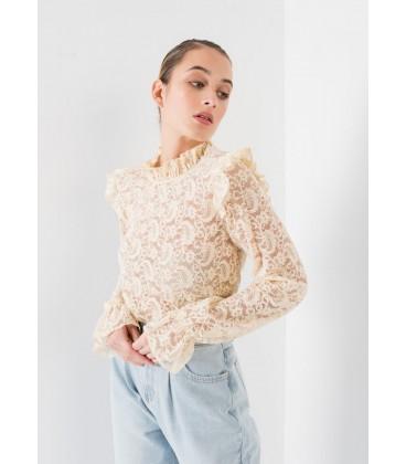 Top encaje beig comprar online camisetas mujer primavera verano