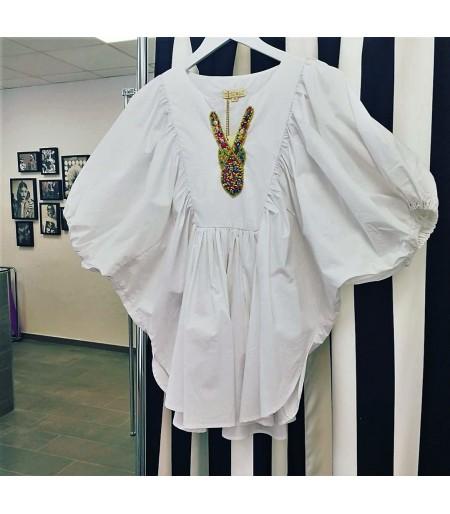 camisa o blusa de mujer online manga 3/4 blanca.Moda femenina y ropa de mujer online Rebajas mujer verano 2017
