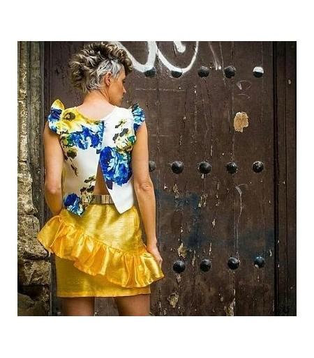 Falda de fiesta corta Volantes Amarillo de vestir.Ropa y moda de mujer online