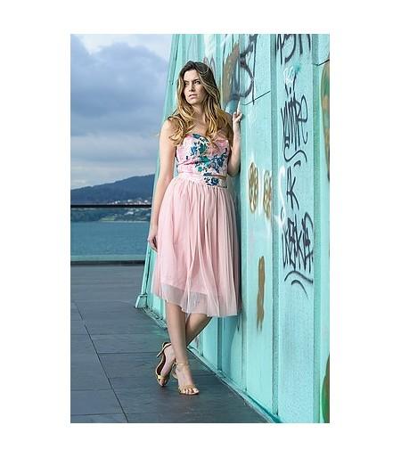 falda de tull de mujer midi en rosa. Ropa y moda de mujer online