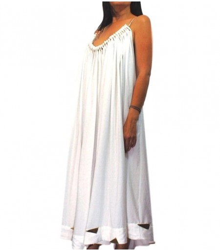 Vestido Largo Adorno Dorado Blanco