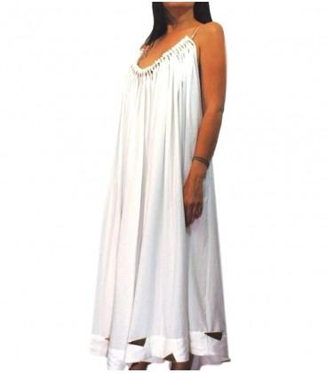 vestido de mujer de tirantes largo blanco con adornos dorados en bajo,pecho y tirantes.Moda mujer y ropa femenina online Rebajas