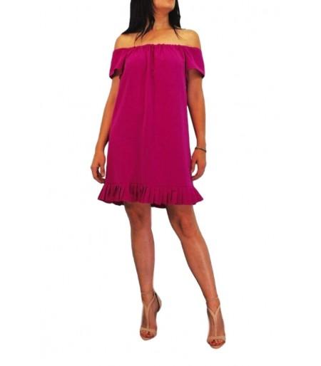 vestido mujer fucsia corto de tablas en el bajo del vestido y hombros al aire.Ropa y moda de mujer online Rebajas mujer verano