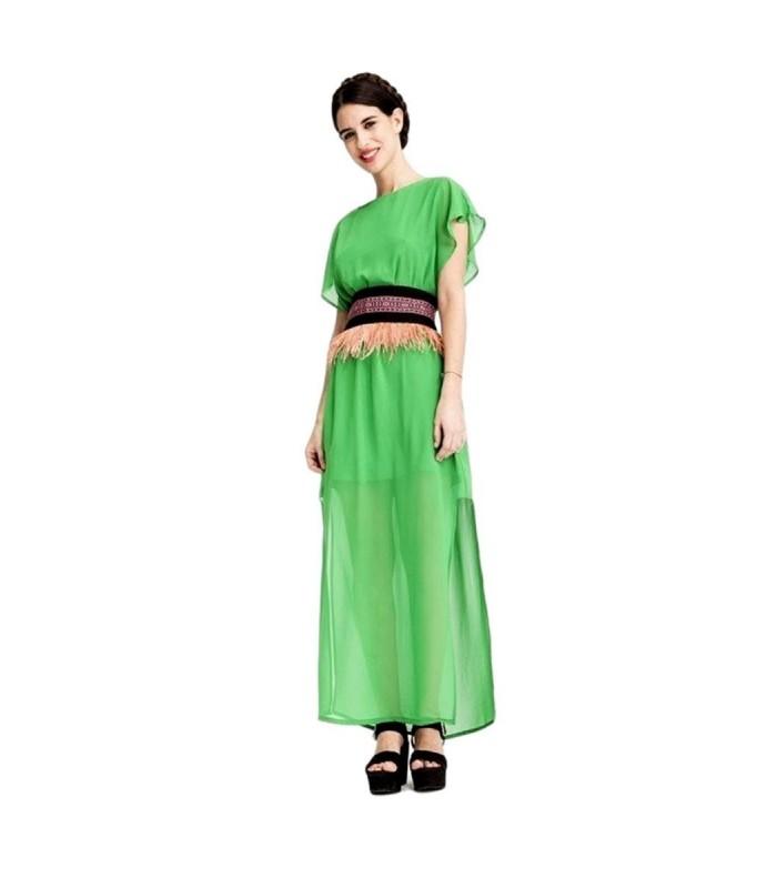 e85566fbd Vestido de fiesta mujer-Largo Gasa-Verde con aberturas laterales. Vestido  de fiesta