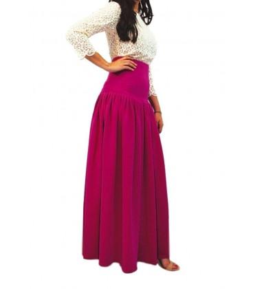 falda de mujer de fiesta larga de vuelo lila modelo coctel.Ropa y moda de mujer online