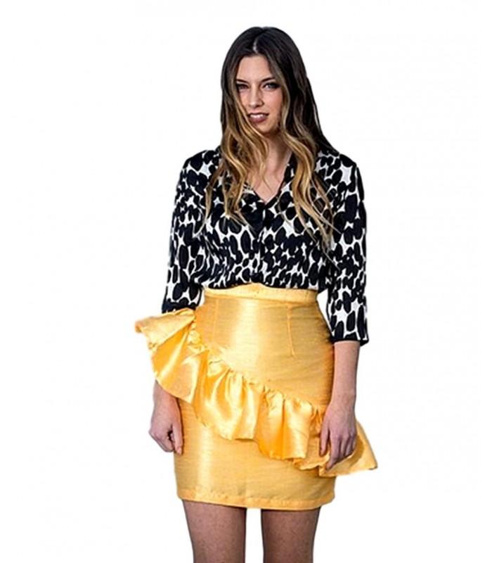 fea6458cde1 Falda de fiesta corta Volantes Amarillo de vestir.Ropa y moda de mujer  online