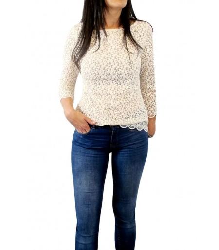 Camisa o blusa de mujer bordada flores beig: Moda mujer online.Rebajas mujer verano 2017
