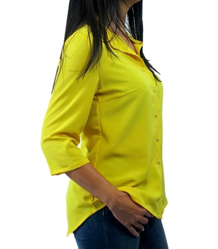 Mujer De Lisa Manga Amarilla Camisa moda Asimetrica Media Femenina 75qTfd