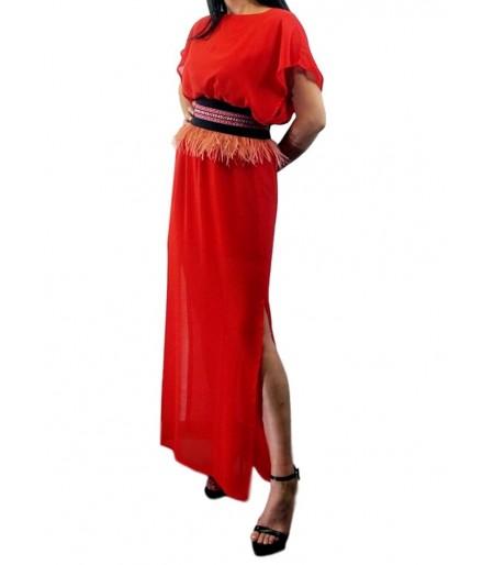 Vestido Frida Liso Gasa Rojo