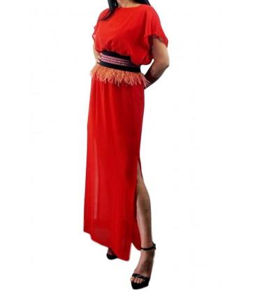 Vestido de fiesta largo Frida Liso Gasa en rojo.Moda femenina online