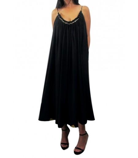 Vestido Largo Adorno Dorado Negro