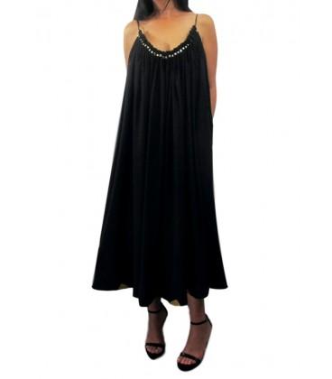 Vestido Largo Casual Adorno Dorado Negro.Moda mujer online