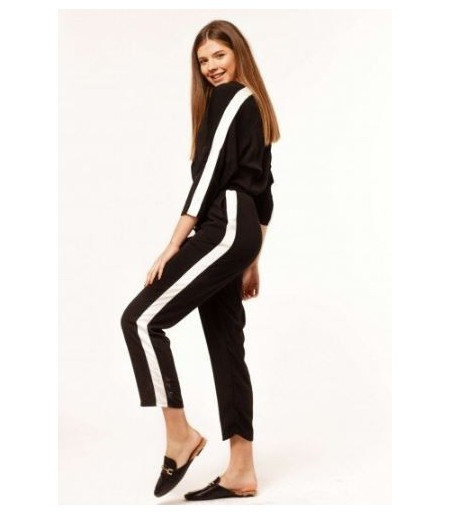 JUMPSUIT LARGO NEGRO CON RAYA VERTICAL